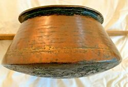 Antique Hand-forged Copper Cooking Pot, Large Piece 4.3 Lbs. Middle Eastern