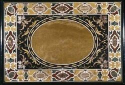 4and039x2.5and039 Black Dining Coffee Center Marble Table Top Inlay Malachite Decor C18