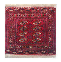 Antique Rugs Turkmen Red Wool Carpet Square Area Rug Small Traditional 95x97cm