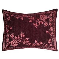 2 pcs Chenille Purple 22x30 Floral Home Decorative Pillow Cover Sham Pink Rose