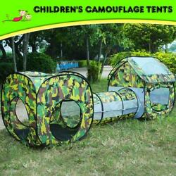 Kids Camouflage Tunnel Hut Play Tent Childs Pop Up Foldable Tunnel Playhouse New