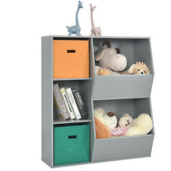 Kids Toy Storage Bin Floor Cabinet Shelf Organizer w 2 Baskets amp; 3 Cubes Grey