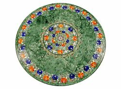 48'' Green Marble Table Top Dining Center Room Decor Fancy Inlay Mosaic Round
