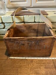 Vintage Wood Crate Peters Ammo Crate Dovetail Wooden Ammo Crate Canvas Strap