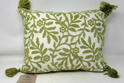 Thatch Home Decorative Throw Pillow Green Embroidery and Tassels 17quot; x 12quot;