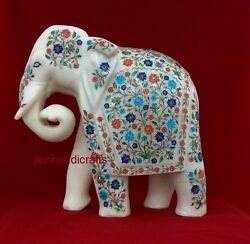 13 Antique Marble Elephant Statue Mosaic Marquetry Inlay Art Decor Gift