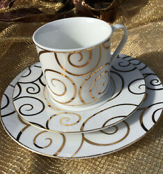 Pier One Porcelain Gold Swirl Holiday Dinnerware 6 Pcs Total
