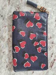 GUCCI Heartbeat Leather Pouch Clutch Bag w Bamboo: Detail 338816 $350.00