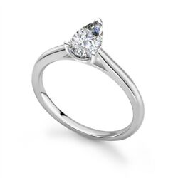 Solitaire Engagement Ring Pear Diamond 0.70cts G-si1 Gia Certified