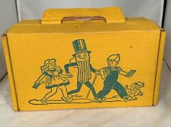 Rare Vintage 1950's To 1960's Planters Mr Peanut And Children Cardboard Lunch Box