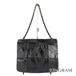 Chainshoulder Patchwork Coco Mark Black Cross Body From Japan
