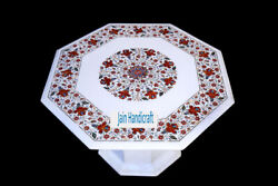 27 White Marble Table Top Coffee Dining Inlay Lapis Mosaic Home With Stand H4