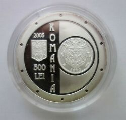 P104 Romania 500 Lei 2005 125 Years Anniversary Of National Bank Silver Proof