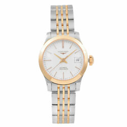 Longines Record Steel 18k Rose Gold Silver Automatic Ladies Watch L.320.5.72.7