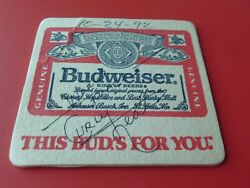 Curly Neal  Hand Signed Autographed  Budweiser Beer Coaster  Rare