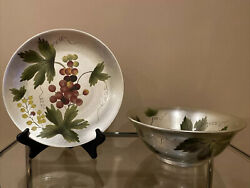 Hand Painted Bowl And Matching Plate Silver With Grapes Andrea By Sadek