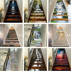 13pcs Self-adhesive Waterproof Staircase Stickers Stair Riser Sticker Decor