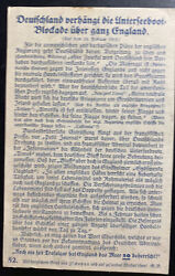 Mint Germany Notice Advertising Postcard Ppc Wwi U Boats Offensive