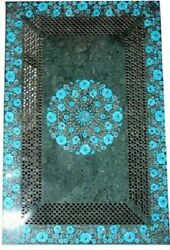 5and039x2.5and039 Green Marble Table Top Dining Center Inlay Lapis Mosaic Home Decor G544