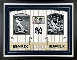 Roger Maris And Mickey Mantle Autographed New York Yankees 3x5 Photo Framed Psa