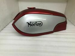 Aluminum Gas Fuel Tank For Norton Commando Fastback Red And Silver Paint + Cap