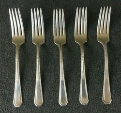 Vintage Lot Of 5 Forks By William Rogers And Son Aa Silverplate - 7.25