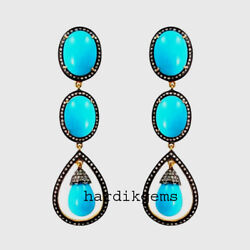 Natural Rosecut Diamond Turquoise 925 Sterling Silver Vintage Earring Jewellery