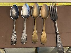 Vintage 4 Silver Plate 6 Simpson H.m. Co 502 Medallion Spoon 1 Fork Rogers