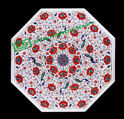 24'' White Marble Table Top Center Coffee Dining Inlay Pietra Dura Mosaic P16