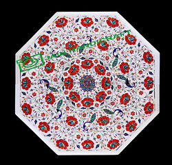 30and039and039 White Marble Table Top Center Coffee Dining Inlay Pietra Dura Mosaic P16