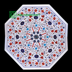 30and039and039 White Marble Table Top Center Coffee Dining Inlay Pietra Dura Mosaic P17