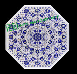 30and039and039 White Marble Table Top Center Coffee Dining Inlay Pietra Dura Mosaic P37