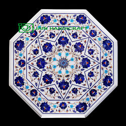 30and039and039 White Marble Table Top Center Coffee Dining Inlay Pietra Dura Mosaic P46