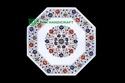 30and039and039 White Marble Table Top Center Coffee Dining Inlay Pietra Dura Mosaic P47