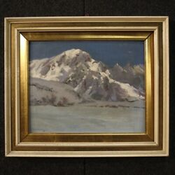 Painting Framework Oil On Canvas Landscape Mountain Antique Style Frame Signed