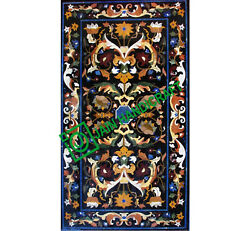 5and039x2.5and039 Black Marble Dining Corner Table Top Pietradura Floral Inlay Mosaic C8