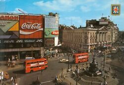 Piccadilly Circus - London Uk Vintage Postcard - Coca-cola Double Decker Busses