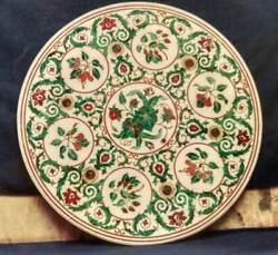 36and039and039 Marble Coffee Center Table Top Decorative Inlay Malachite Round H8
