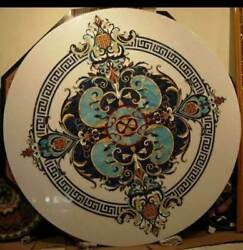 48'' Marble Coffee Center Table Top Decorative Inlay Malachite Round H9