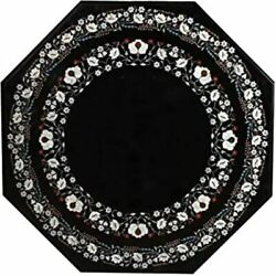 36and039and039 Black Marble Coffee Center Table Top Stone Handmade Inlay Art Home S26