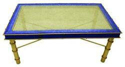 Lapis Sapphire Blue Long Gold Coffee Table Art Deco Bamboo Vintage Style