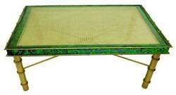 Malachite Emerald Green Gold Long Coffee Table Art Deco Bamboo Vintage Style