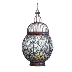 Elegant Antique Style Sphere Scroll Candle Lantern Round Blown Glass Hanging