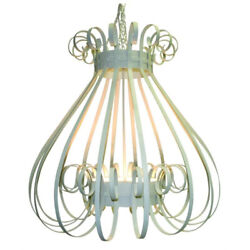 Luxe Antique Vintage Style White Cage Iron Chandelier 4 Light Scroll Open Bell