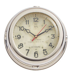 Vintage Style French Submarine Wall Clock Silver Nickel Plated Round Frame Thick