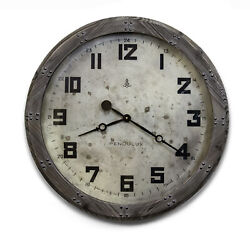 Rustic Riveted Wood Gray Wall Clock Round Industrial Distressed Vintage Style