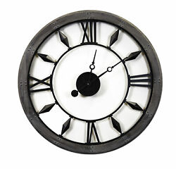 Vintage Style Open Industrial Wall Clock Round Riveted Wood Steel Roman Numeral