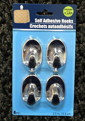 4 Pack Self Adhesive Bathroom Towel Wall Hanging Hooks Pack Hold 3lb Each Silver