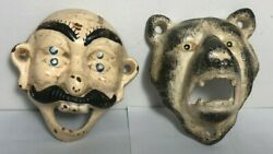 Lot Of 2 Cast Iron Wall Mount Bottle Opener Bar Double Eyed And Bear