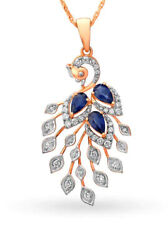 Christmas 0.97ct Natural Round Diamond Blue Sapphire 14k Solid Rose Gold Pendant